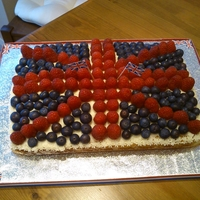Jubilee Celebration Cake Almond and Yoghurt sponge cake decorated with fruit to celebrate the Queen's Diamond Jubilee
