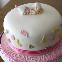 Welcome Baby Sponge cake decorated with fondant