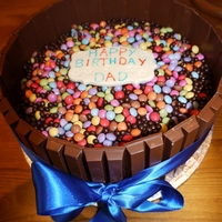 65Th Birthday Cake Kitkat and Smartie decorated devil food cake