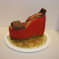 Chunky Wedge Shoe Fondant covered wedge with fondant/ gumpaste details