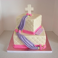 Girly Baptism Cake Yellow cake and red velvet cake flavors. Fondant covered cakes with fondant/gumpaste decorations