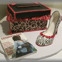 Leopard Shoe Box And Zebra Print Shoe  Shoe box covered in fondant and then stenciled with the leopard pattern. Lid is RCT covered in GP. Message is edible image. Lips forma mold...