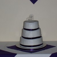 Stephanie's Wedding Cake Heart Shaped Cakes WASC and Chocolate WASC Buttercream Decorated with purple ribbons