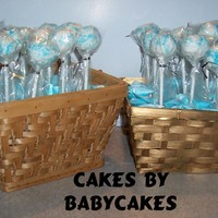 Cake Pops Cake Pops White Chocolate Blue & White Sugar Sprinkles