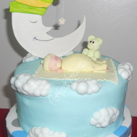 Mr. Moon & Sleeping Baby Christening Cake fondant covered chocolate cake w/ creamy cream cheese filling & red velvet cupcakes w/ vanilla butter cream frosting..for baby kevin&#...