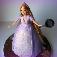 Rapunzel From Movie Tangled WASC in wondermold pan. MMF for decorations. Pan is 50/50 secured to hand with melted chocolate.