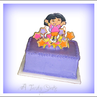 "Dora ""explosion"" cake. Iced in bc. 2 fondant squares placed on top (yellow under and matching purple ontop). Sliced to peel away for..."