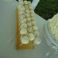 Cake Pops For Groom's Cake The groom wanted strawberry cake pops covered with white chocolate. Displayed on a custom made cake pop stand.