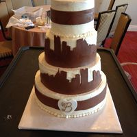 Pittsburgh Skyline Wedding Cake Wedding cake incorporating the Pittsburgh skyline in chocolate fondant