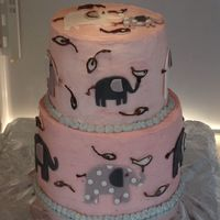 Elephant Baby Shower Cake   Baby shower cake based on baby's bedding.