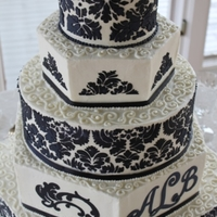 Navy Damask Monogram & Scrolls