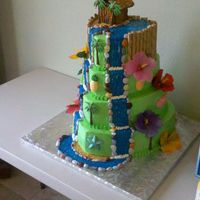 Waterfall This was my neice's graduation cake. She wanted it Hawaiian themed with a waterfall. All BC frosting. Waterfall is cookie icing...