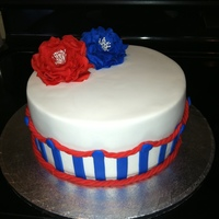 Fourth Of July Yellow butter cake covered with ganache and fondant...This is my first time using ganache and trying to get a sharp edge. It was a little...