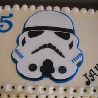 "Storm Trooper Cake yellow cake with ""kid's"" buttercream icing fondant storm trooper decoration"