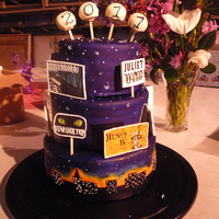 Sfsu Theatre Arts Graduation 2011 This one was a DOOZY! I did it all by myself. :) Red velvet with a milk chocolate cream cheese frosting, covered in MMF. Background hand...