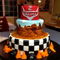 Pixar's Cars Themed Birthday Cake A Cars theme for my nephew Oliver's second birthday. This was SO MUCH FUN to make. This was my first time doing a checkerboard panel,...