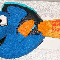 Dori From Finding Nemo Dori was carved out of a heart pan and a loaf pan for the fin.