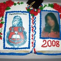 Graduation Book DOne with the wilton cake pan...edible images on both sides all in buttercream