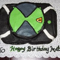 "Ben 10 Omnitrix 9x13 pan with 8"" round ontop. covered in CBC."