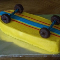 Skateboard Cake My 7 yr old requested a skateboard cake for his birthday. Saw this one in an online magazine. One of the easiest cakes ever. :)