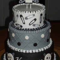 "Skully Baby Shower For A Roller Derby Teammate With A 9 Month Injury Lol All Buttercream Except Skull End Of Safety Pins And Buttons skully baby shower- for a roller derby teammate with a ""9 month injury"" LOL. All buttercream except skull, end of safety pins and..."