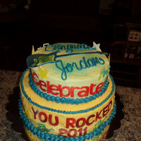 Graduation Cake - You Rocked White Cake, Buttercream Icing, Fondant/Gumpaste Accents
