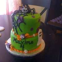 Halloween Birthday Cake Child had a birthday on Halloween. Base is buttercream, accents are fondant.