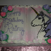 Unicorn Book  Used the Wilton book-shaped pan. All buttercream, except for the roses, which are fondant sprayed with Wilton spray-on color. Covered the...