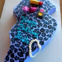 New Jersey Birthday Cake 17 yr old wanted a cake in the shape of NJ, cheetah print and parents said to girly it up so made lipstick, eyeshadow, and shoe from...