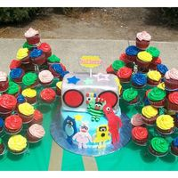 Yo Gabba Gabba   8 inch cake, and loaf as radio, radio covered in MMF, and all other decorations are fondant.