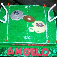 Raiders Vs. 49Ers Helmets are made with fondant and logos are done with edible images.