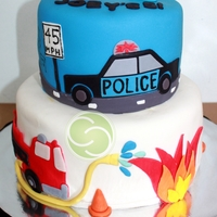 Police Car And Fire Truck Themed 5Th Birthday When a mom asked me to do a police car and fire truck themed birthday cake (originally 3d), I was confused! Wouldn't a Police man and...