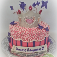 "Princess Adryanna's Cake With Butterflies This was such a fun cake for me to make! This is just an 8"" cake decorated with a gumpaste crown which has pearls attached around the..."