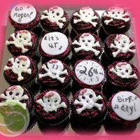 Girly Skull Cupcakes these cupcakes turned out to taste AMAZING! Double chocolate cupcake and then a chocolate cream cheese frosting (Wilton Fudge Frosting...