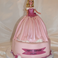 Sleeping Beauty Cake Doll cake on petal tier. Choc & Van swirl cake with BC filling.