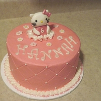 Hello Kitty This was a little 8 inch cake iced in buttercream with a fondant Hello Kitty