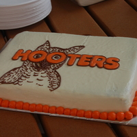 Hooters Birthday This cake was made for an office party for my husband and a coworkers birthday. They even had a hooters girl deliver the wings to the...