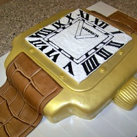 "Cartier Watch Cake This was made for a 40th birthday! I started with a 14"" vegan chocolate cake and filled it with creme de menthe liqueur buttercream..."
