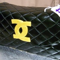 Coco Chanel Purse Cake Cake carved and covered with MMF, quilted, then airbrushed black. MMF deatils. Thanks for looking!