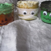 Mummy, Jack O'lantern And Frankenstein Saw this online and tried it myself. Had so much fun. Baked the cakes in the jars (using water bath) and used a permanent marker to...