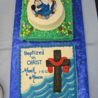 Baptism Two cakes to celebrate baptism. Baptistery is one cake on the other with chocolate rocks and blue gel over icing to make the water. Fondant...