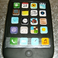"I-Phone Cake Birthday cake for young boy. Hand painted icons. I used ""28"" for his birthdate, ""99"" deg for tempature - for his birth..."