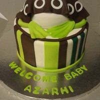 Frog Baby Shower Cake This was a very unique request. They wanted a cake to match their frog baby bedding and so they asked for a baby bottom cake with frog legs...