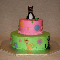 Kitty Cat Cake Done for a litte girl who wanted a kitty and polka dot cake. Found some cute stickers in the scrapbook section at Hobby Lobby that inspired...