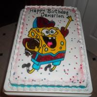 Spongebob Football 1/2 Sheet chocolate cake with buttercream icing and air-brushed picture.