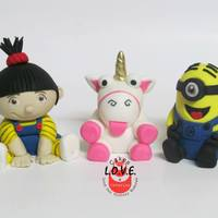 Despicable Me Cake Agnes, Unicorn and Minion are hand molded with fondant :)