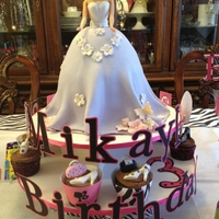 "Barbie Cake And Fashionista Cupcakes Barbie cake made by carving 3 8"" cakes."