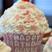 Giant Cupcake First Birthday Cake Made using the Wilton Giant cupcake pan