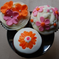 Springtime Pink And Orange Flower Cupcakes
