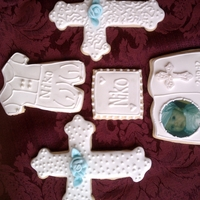 Christening Cookies NFSC covered in RI with fondant decorations and an edible image of my son.